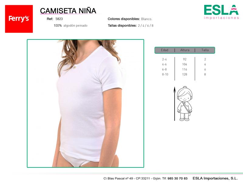 Camiseta niña blanca, Algodón peinado,  ref: 5823