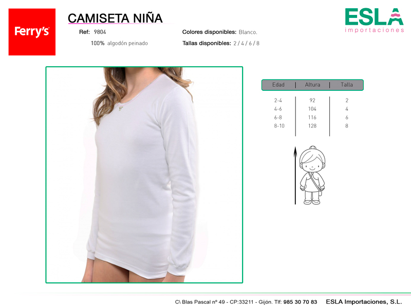 camiseta niña, blanca, ref 9804