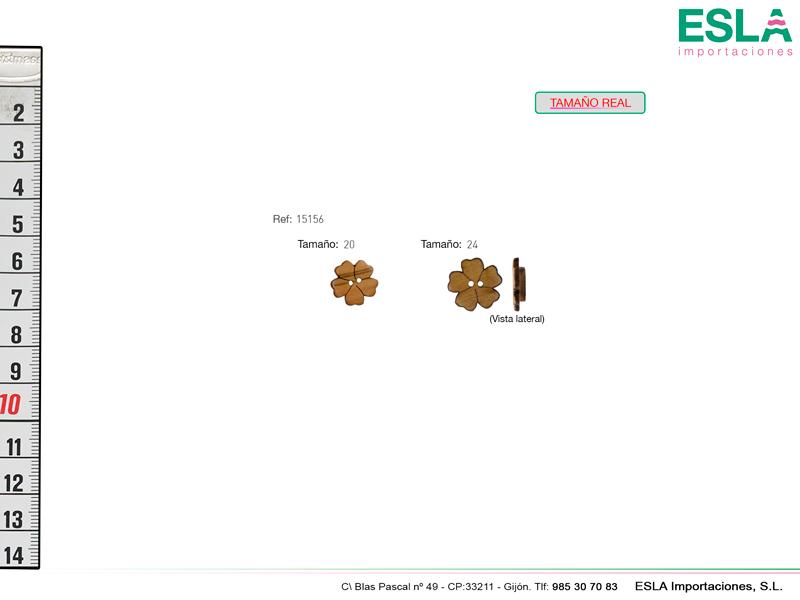 Botones de madera con forma de flor de 5 petalos