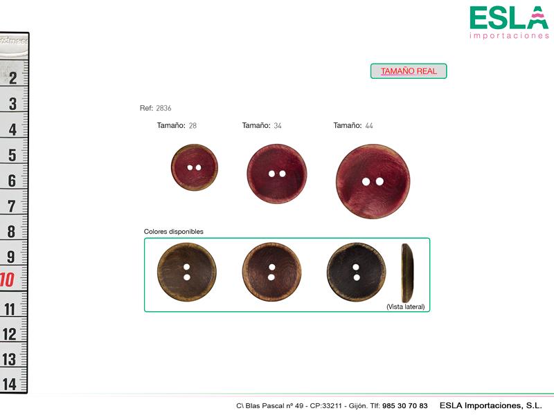 Botón de madera redondo en tres tamaños y tres colores.