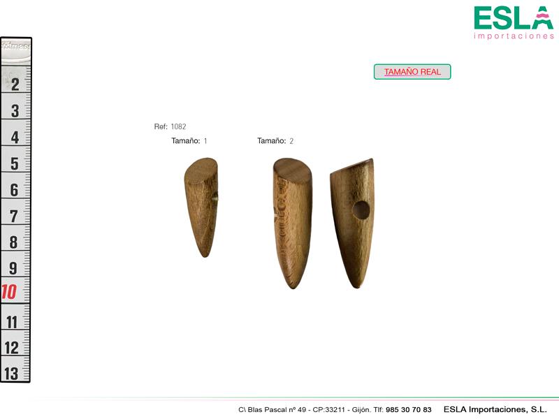 Boton de madera tipo cuerno de trenca con dos tallas disponibles.