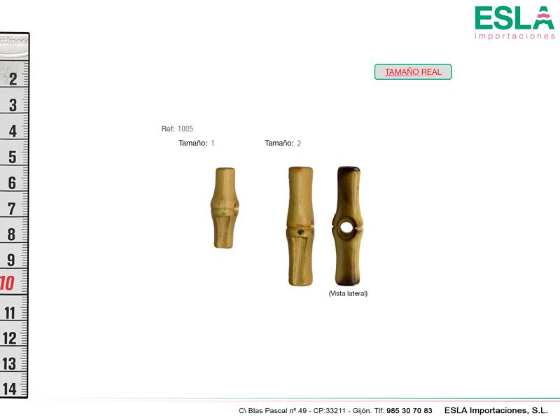 Botón de trenca de madera disponible en dos tamaños.