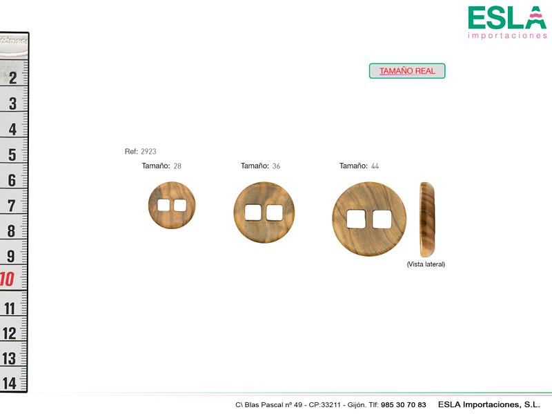 Botón de madera redondo disponible en tres tamaños.