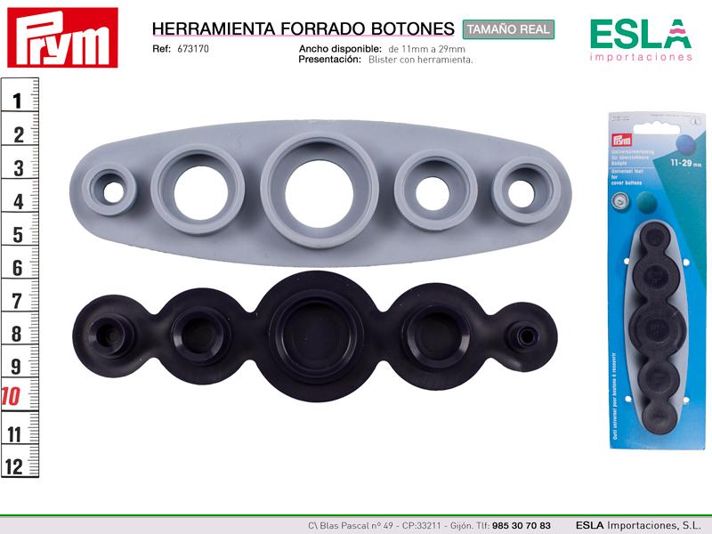 Herramienta universal para forrar botones de 11 - 15 - 19 - 22 - 29mm