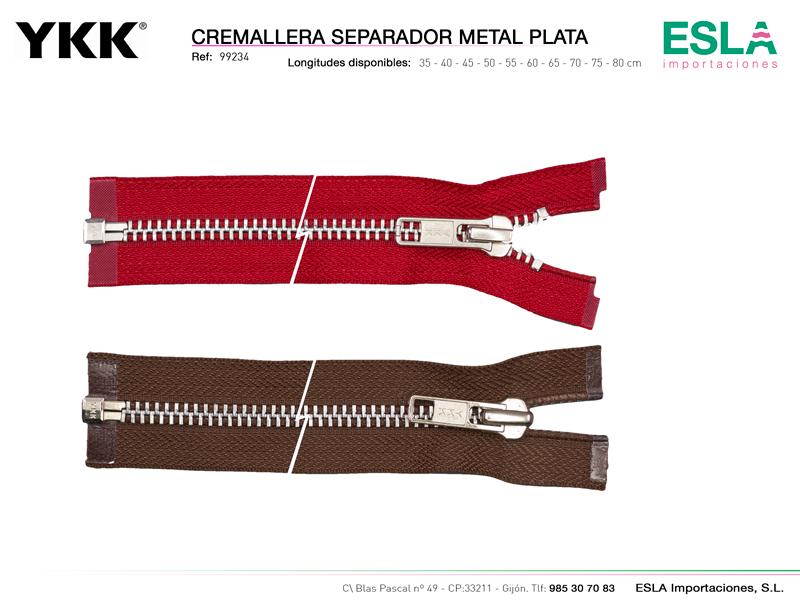 Cremallera metal plata separador marca YKK