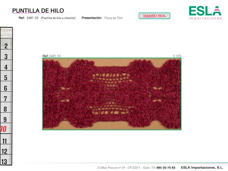 Puntilla de hilo y chinilla con motivo de flores y disponible en cuatro colores.