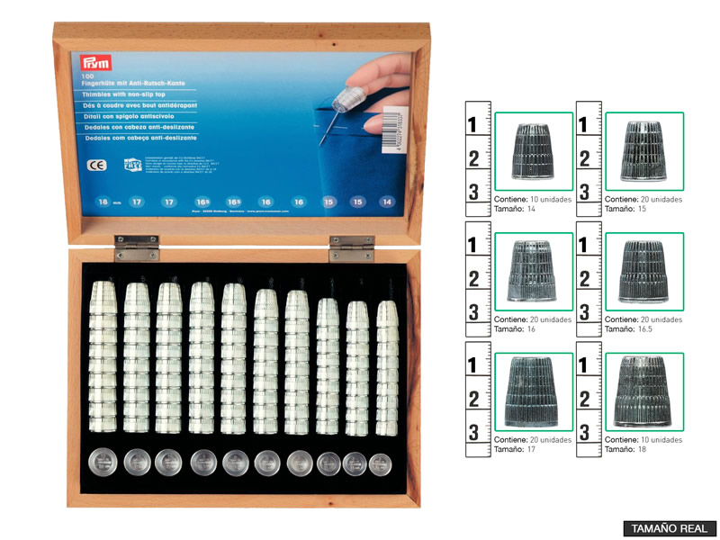Expositor dedales galvanizados,PRYM, Caja Expositor madera, ref 431833