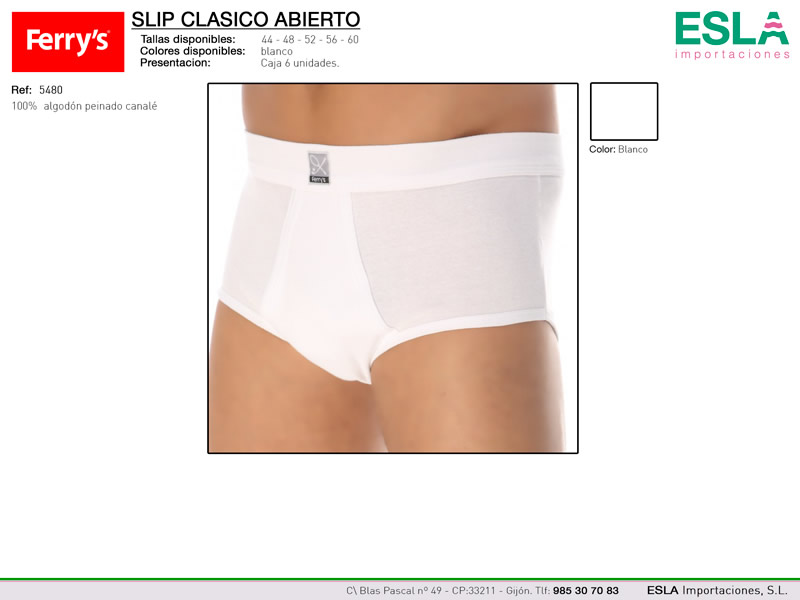 Slip  clásico abierto, Algodón, Ferrys, Ref 5480