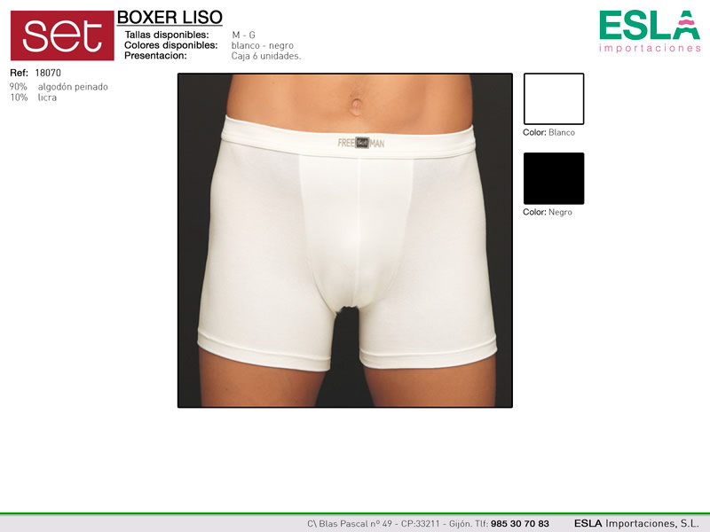 Boxer liso algodón, Set, Ref 18070