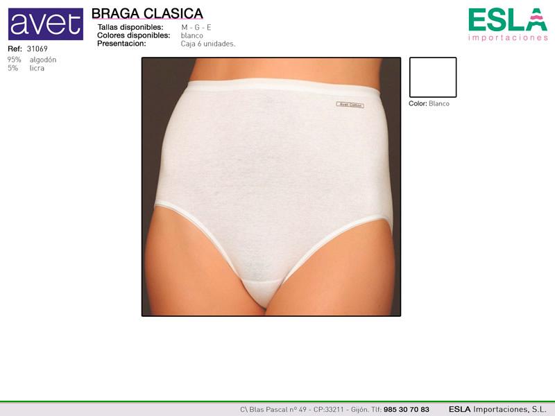Braga clasica lisa blanca, avet cotton, Avet, Ref 31069