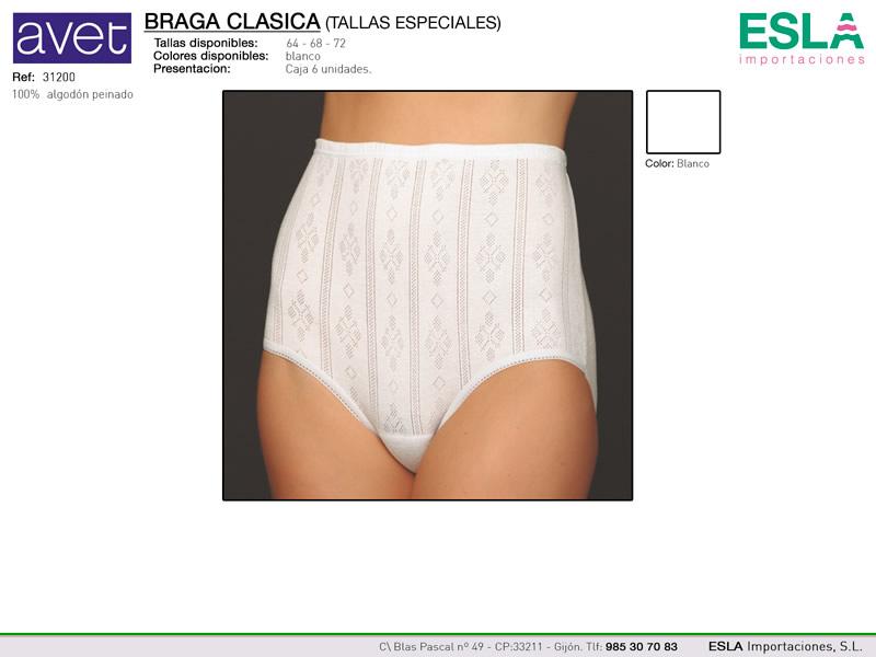 Braga clasica, con dibujo, tallas especiales, Avet, Ref 31200