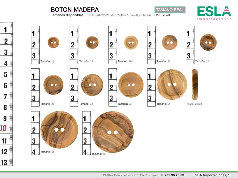 botón redondo de madera disponible en 7 tallas.