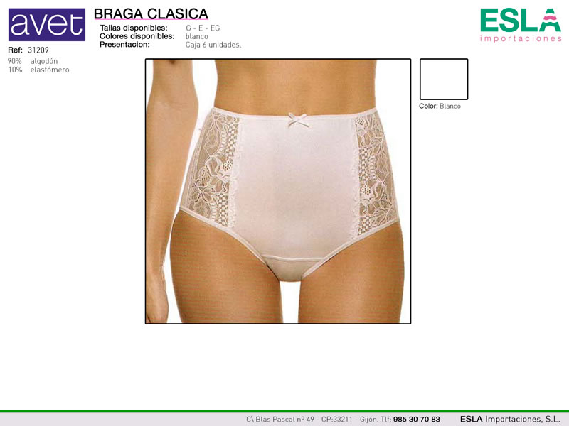 Braga clasica, Encaje, Avet, Ref 31209