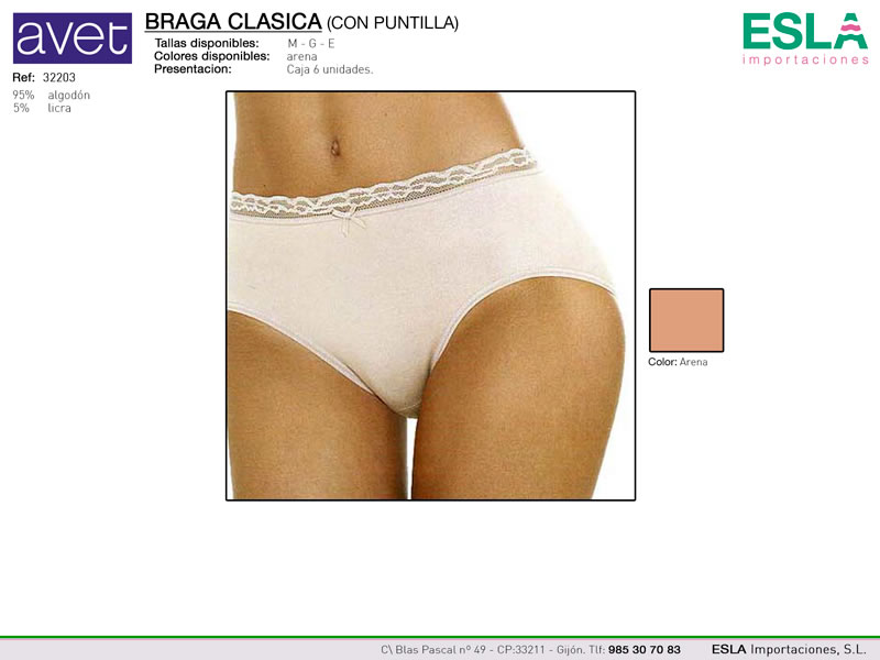 Braga con puntilla lisa, Avet, REf 32203