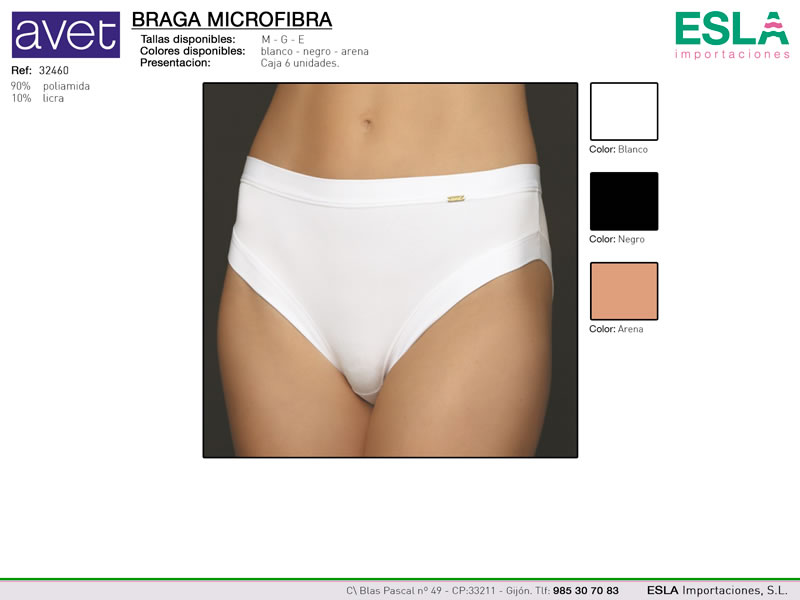 Braga microfibra sin marcas, AVET, Ref 32460