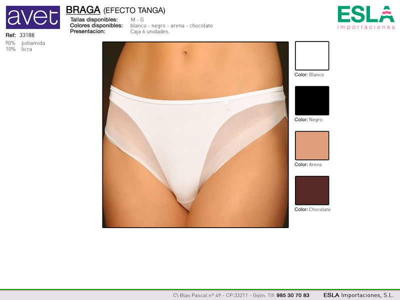 Braga lisa, efecto tanga, Avet, Ref 33188
