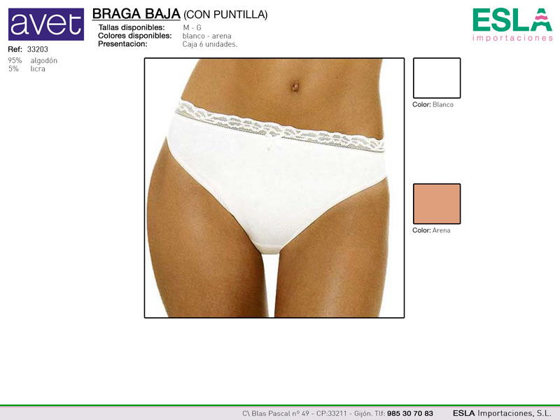 Braga clasica, lisa, con puntilla, Ref 33203