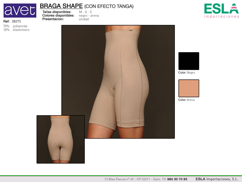Braga shape, Efecto tanga, Braga especial, Avet, Ref 38275