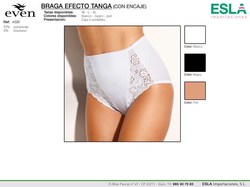 Braga alta, efecto tanga, con encaje, Even, Ref 4320