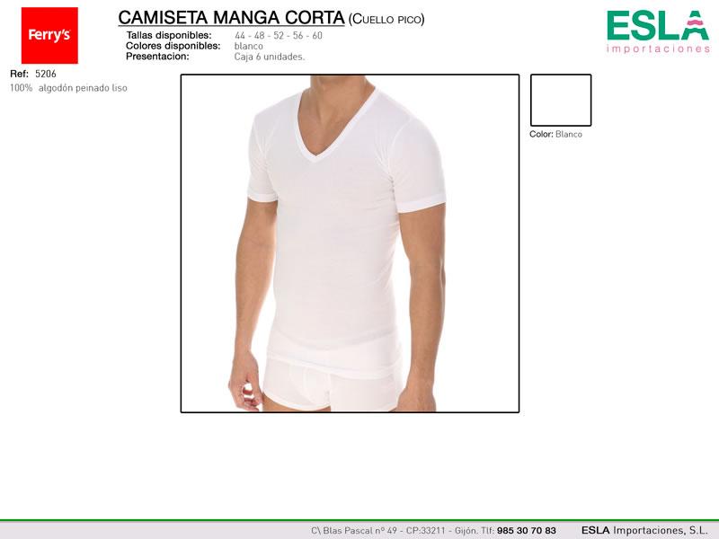 Camiseta manga corta, Cuello de pico, Ferrys, Ref 5206