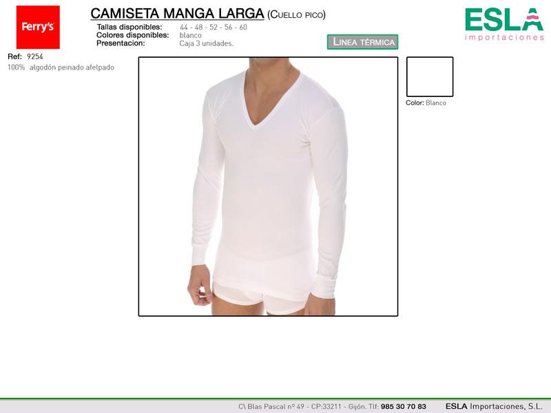 Camiseta manga larga, Cuello de pico, Ferrys, Linea térmica, Ref 9254