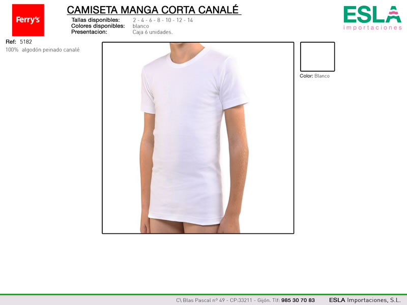 Camiseta manga corta, Ferrys, camiseta de niño, Ref 5182