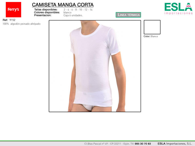 Camiseta manga corta, Linea térmica, Ferrys, Ref 9152