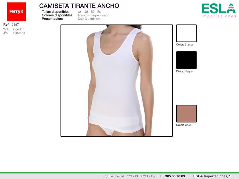 Camiseta mujer de tirantes, Tirante ancho, Ferrys, ref 5867