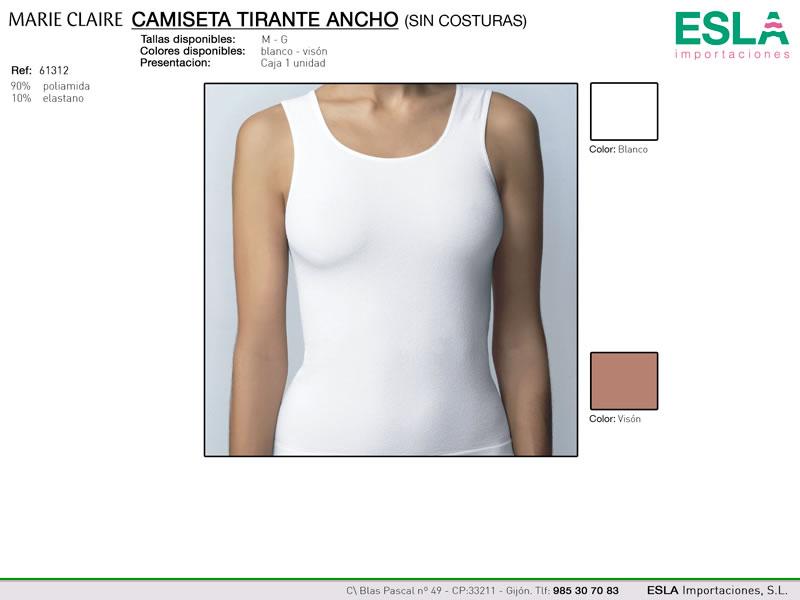Camiseta tirante ancho, sin costuras, Marie Claire, Ref 61312
