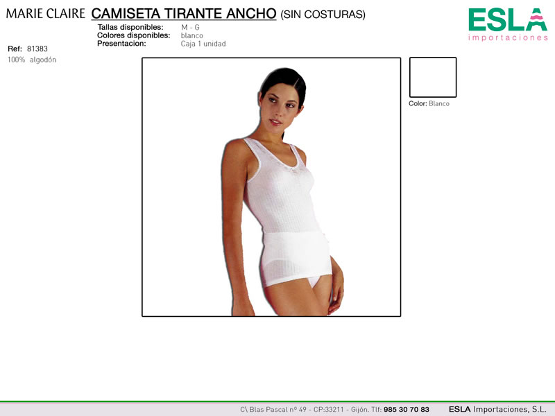 Camiseta de tirante ancho, Sin costuras, Marie claire, Ref 81383
