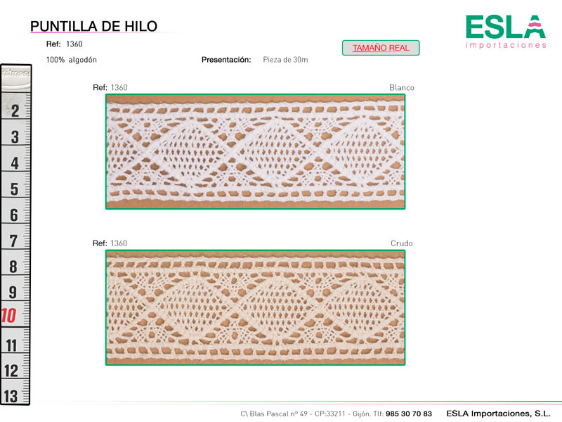 Puntilla de hilo, Familia 298, Ref 1360