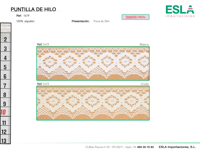 Puntilla de hilo, Familia 1382, Ref 1419