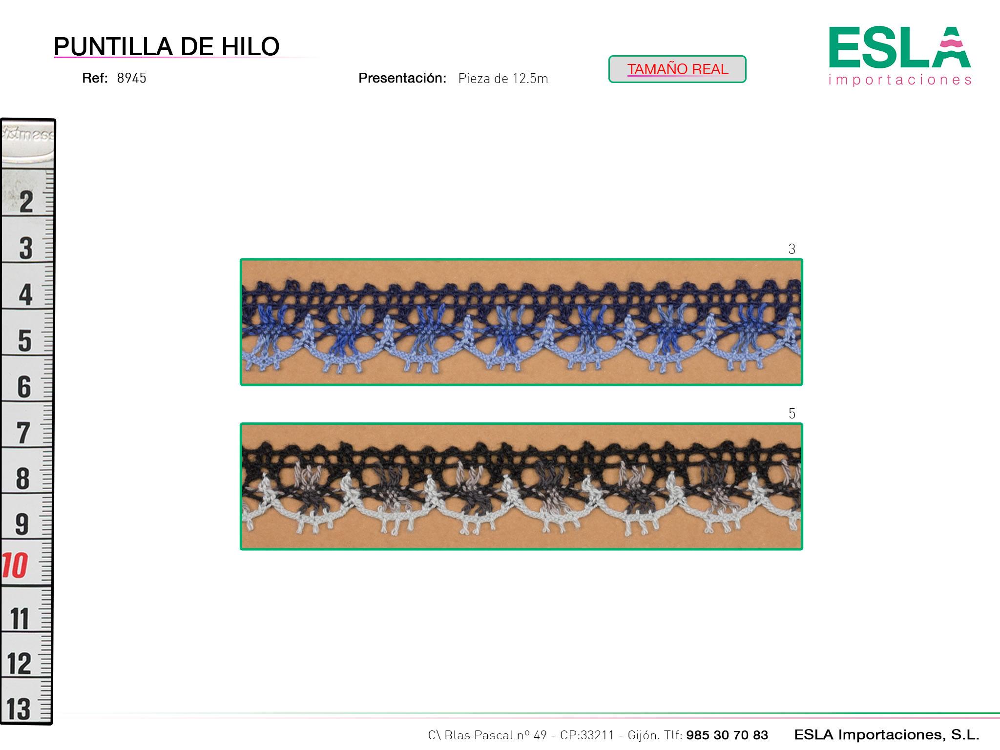 Puntilla de hilo de colores, Familia 8945, Ref 8945