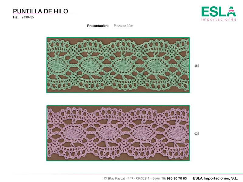 Puntilla de hilo de colores, Familia 2430-35, Ref 2430-35