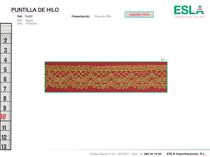 Puntilla de hilo de colores, Familia 76600, Ref 76600