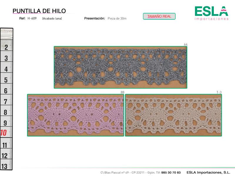 Puntilla de hilo de colores, Familia H609, Ref H609
