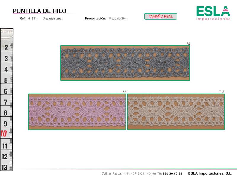 Puntilla de hilo de colores, Familia H609, Ref H611