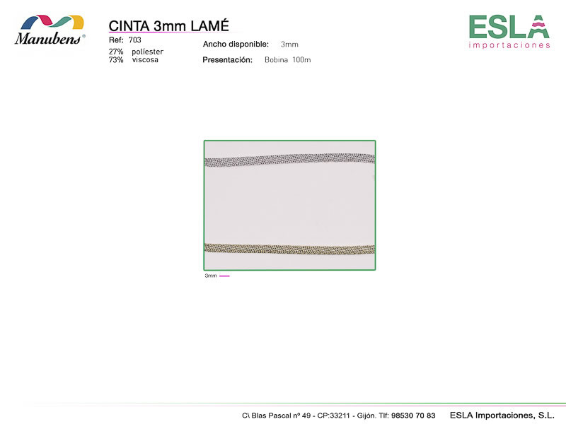 Cinta lame 3mm, Manubens, Ref 703