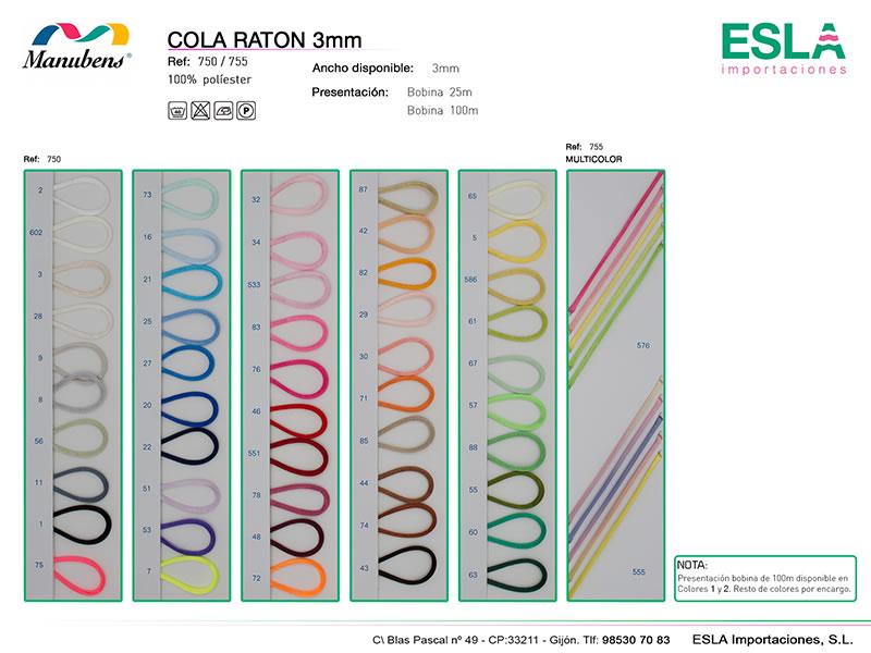 Cola de ratón 3mm, Manubens, Ref 750, Ref 755