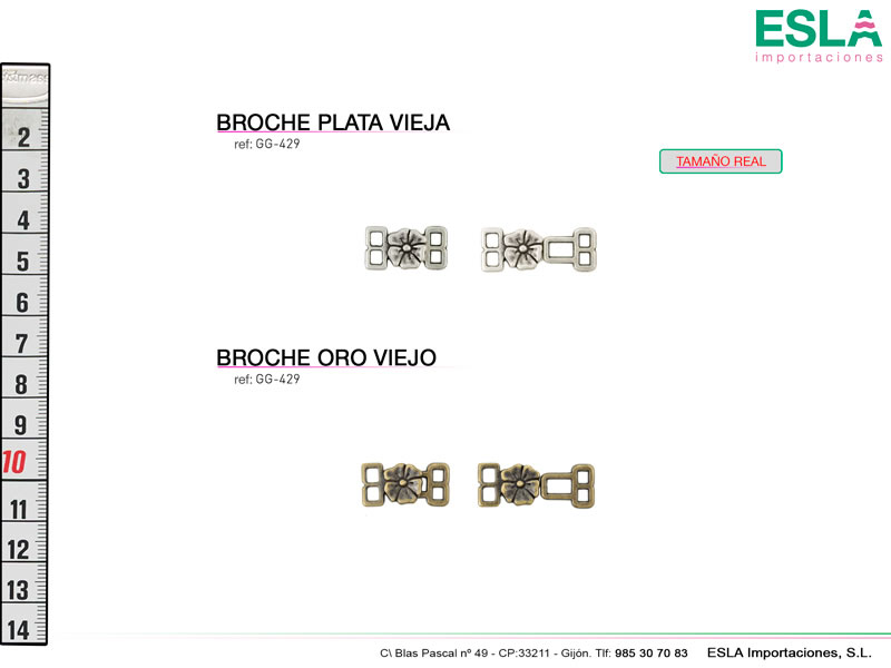 Broche metal, Flores, Ref GG-429