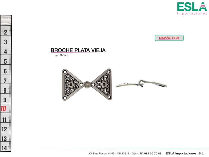 Broche metal, Plata vieja, Ref G-543
