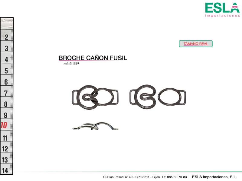 Broche metal, Cañon fusil, Ref G-559