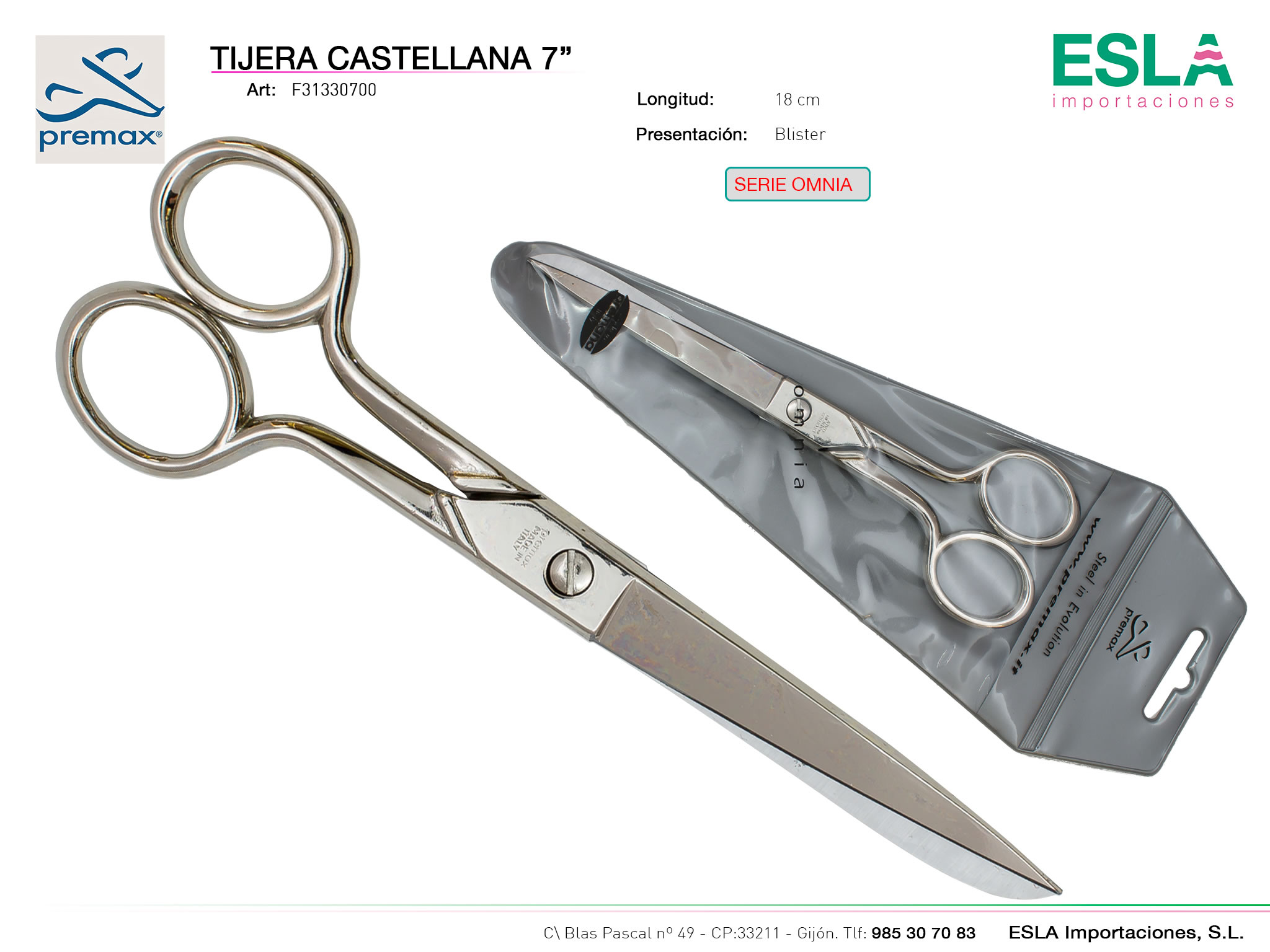 Tijera castellana 18cm, Premax, Serie omnia, Ref F31330700