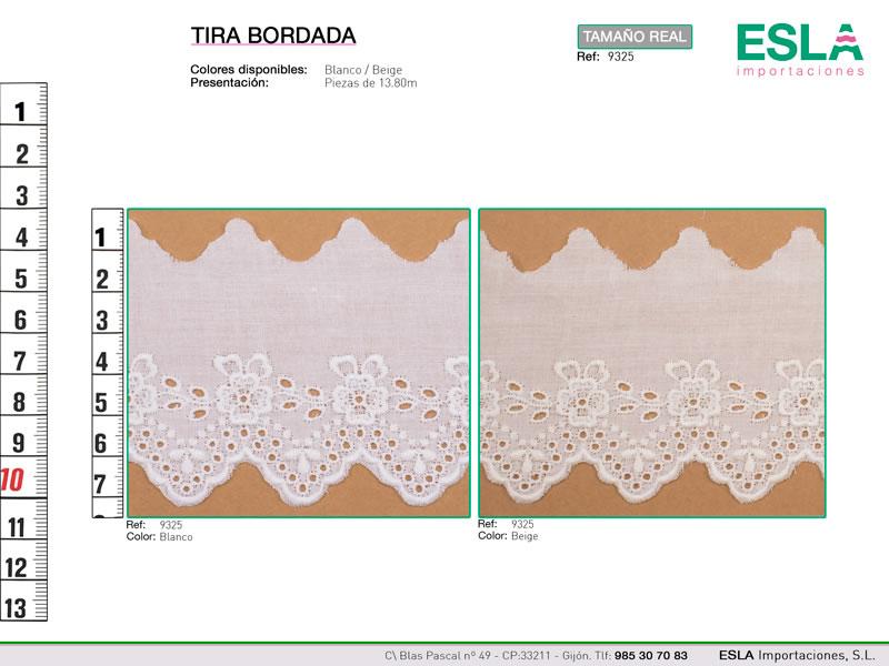 Tira bordada, Blanca y beige, Familia 9324, Ref 9325