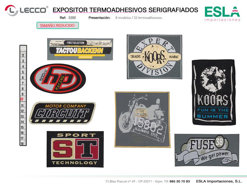 Expositor termoadhesivos, serigrafiados, Lecco, REf 3200