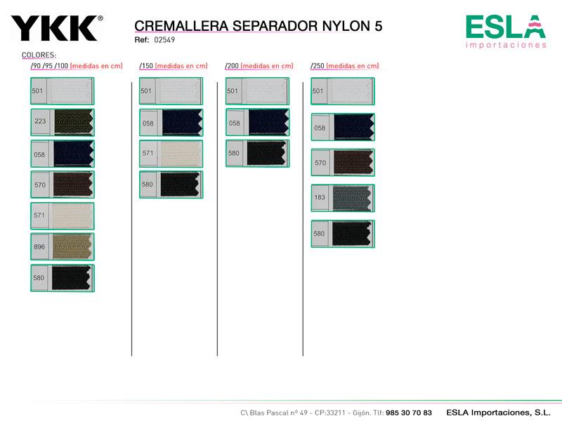 Cremallera Nylon 5 Separador, YKK, Ref 02549