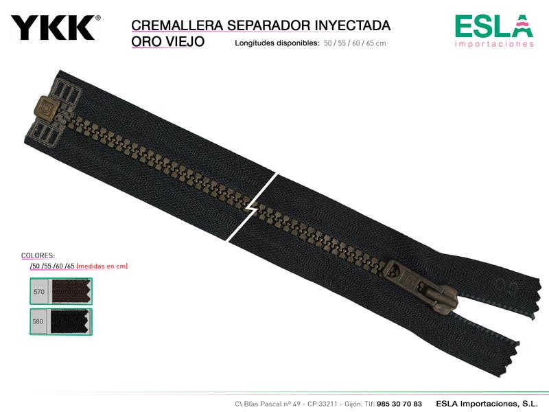 Cremallera separador inyectada, Oro viejo, YKK, Ref Inyectada-oro