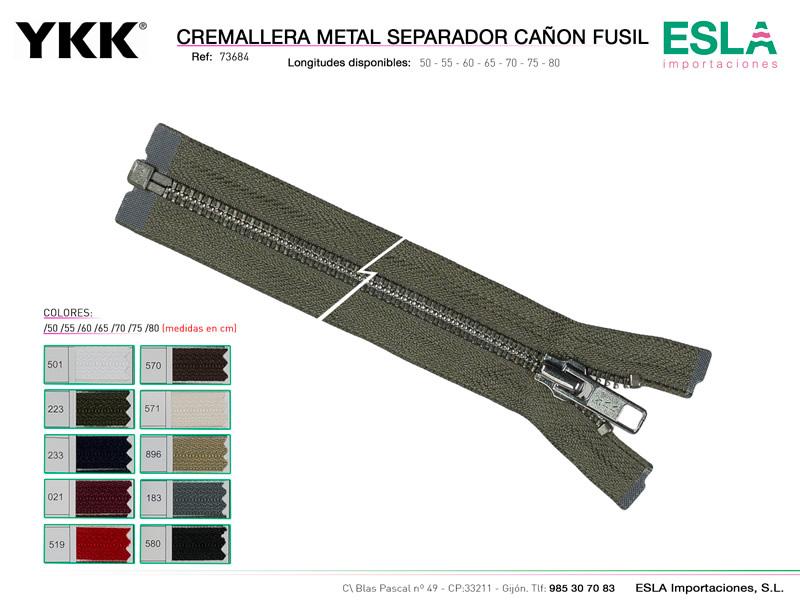 Cremallera metal cañón fusil, Separador, YKK, Ref 73684