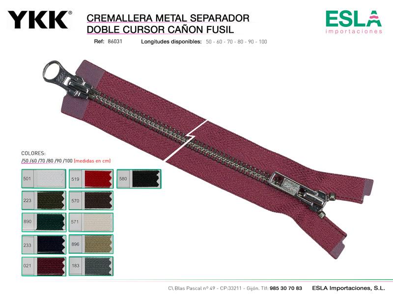 Cremallera metal cañon fusil, Separador, Doble cursor, YKK, Ref 86031