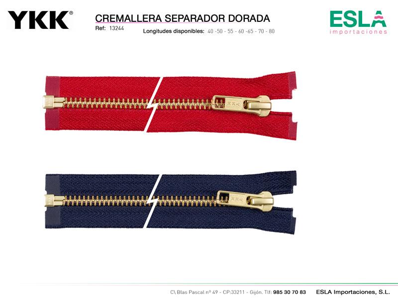 Cremallera separador dorada, YKK, Ref 13244